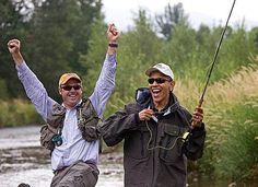 Photos of Obama Being Awesome: Obama Fly Fishing