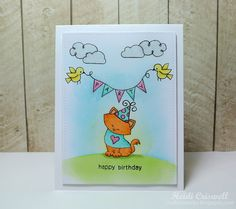Crafty Time 4U: Inky Paws Challenge No. 22 Birthday Card | Newton Dreams of Paris and Winged Wishes stamp setsby Newton's Nook Designs