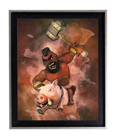 Watercolor Clash Of Clans Hog Rider Splatter Art by AmorImprimo