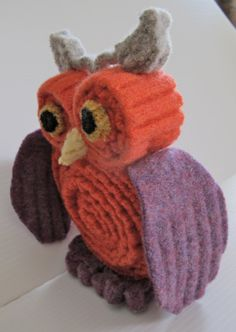 Stuffed owl repurposed wool sweaters by sewmillionstitches on Etsy