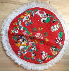 Vintage Mickey Mouse Christmas Tree Skirt by lishyloo on Etsy, $10.00