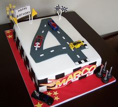 Hot Wheels Racing League: Hot Wheels Birthday Party Cakes - Big number four. Car Cakes For Men, Race Car Cakes, Birthday Cakes For Men, Cake Birthday, 4th Birthday, Birthday Ideas, Birthday Crafts, Husband Birthday, Bolo Hot Wheels