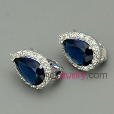 Fashion color zirconia decorated stud earrings