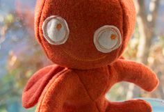 Stuffed guardian angel, orange felted fabric stuffed toy, unique and handmade by VrijFormaat on Etsy https://www.etsy.com/uk/listing/511065415/stuffed-guardian-angel-orange-felted