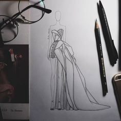 golden khan biniksin e Dress Design Drawing, Dress Design Sketches, Fashion Design Sketchbook, Fashion Design Drawings, Fashion Sketches, Art Sketchbook, Fashion Figure Drawing, Fashion Drawing Dresses, Fashion Illustration Dresses