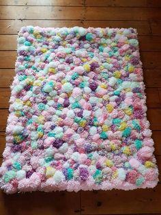 Pom pom rug, fluffy pom pom rug, girls rug,fluffy rug, pom pom decor, rug for girls room, pom pom mat, pom pom runner