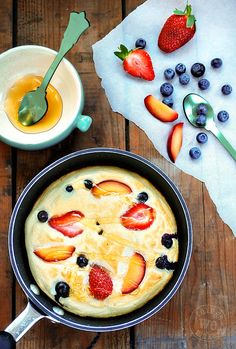 Honey Cloud Pancakes - egg whites and honey whipped up and baked with fruit for a healthier (and tastier!) pancake