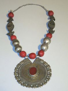 Vintage silver gilded Turkoman Yomud beads necklace