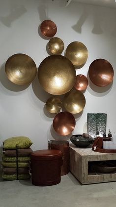 GLOBAL VIEWS - Metal Mix - Brass & Copper bowl Wall Decor - Studio A @ihfc Showroom Tour - Lynda Quintero-Davids #DesignOnHpmkt  #HPMKT 2015
