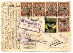 "TANGANYIKA  1937 postcard to Germany. Franked irregular block of four 1c and a single 10c adhesive tied ""TANGA"" c.d.s. '31 DE 37' On arrival..."