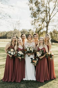 This is close to the color we are doing for bridesmaid dresses! It is like a cinnamon color. I also like these flowers! The light and dark greenery is pretty Bride And Bridesmaid Pictures, Brown Bridesmaid Dresses, Bridesmaids And Groomsmen, Wedding Bridesmaids, Wedding Dresses, Wedding Pics, Dream Wedding, Wedding Ideas, Wedding Colors