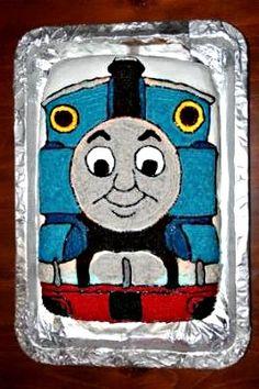 Thomas cake- enlarge photo, poke holes with toothpicks, trace with icing