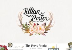 Watercolor Floral Antler Photography Logo Design