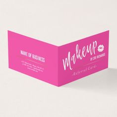 #makeupartist #businesscards - #White Lips & Hot Pink Makeup Artist Referral Card