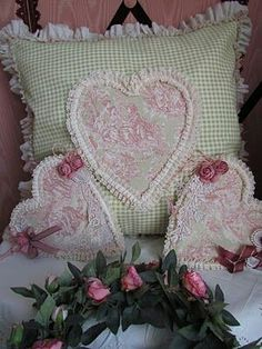 shabby hearts, pillow