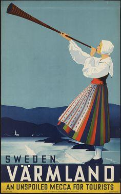 Vintage Sweden Travel Poster, 1936