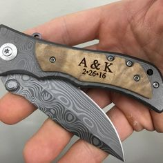 Our New Personalized Knife is a quality Stainless Steel Titanium Coated Wave Engraved Blade with a Burl Wood Overlay. Skillfully Engraved creating a crisp finish Surprise Gifts For Him, Thoughtful Gifts For Him, Diy Gifts For Him, Gifts For Husband, Cute Gifts, Bf Gifts, Personalized Gifts For Men, Surprise Ideas, Geek Gifts