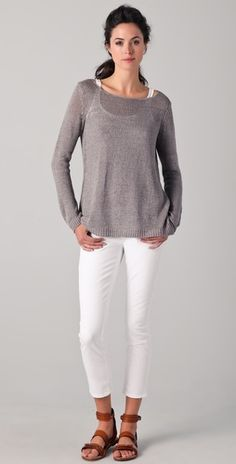 Vince Solid Linen Sweater for the occasional chilly summer night.  #r29summerstyle