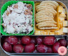 Cranberry/pecan chicken salad, colby/jack cheese, almond thins crackers and grapes