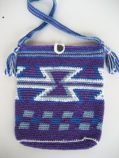 purple crochet pouch, mochila style pouch, purple and blue bag, Colombian style, cotton pouch, hourglass design, tassles by DutchDaisyDesign on Etsy