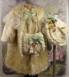Marvelous antique original creme faux-fur/mohair winter ensemble, coat, bonnet and muff