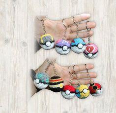 9 x Pokemon Ball Key Chains Crochet Pattern Great Ball Crochet Panda, Crochet Toys, Knit Crochet, Quick Crochet, Line Patterns, Key Chains, Etsy Store, Create Yourself, Handmade Items