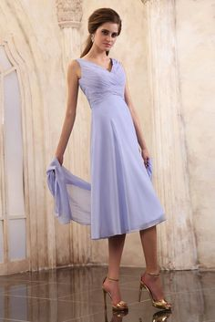 Tea Length Chiffon A Line Lilac Bridesmaid Dresses 2013