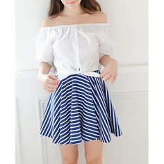 Sweet Slash Collar Short Sleeve Solid Color Blouse + Striped Skirt Twinset For Women