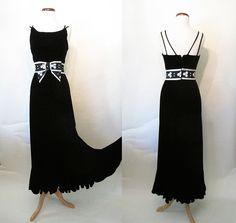 Chic 1960's Designer Black Velvet Evening Cocktail by wearitagain