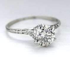 Vintage Style Filigree Art Nouveau Diamond Engagement Solitaire Ring 14kt White Gold One Carat Diamond on Etsy, $1,789.00