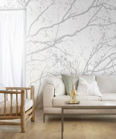 Modern Wallpaper Patterns, Trees and Branches Modern Wallpaper, Wall Wallpaper, Pattern Wallpaper, Wallpaper Ideas, Living Room Wallpaper Accent Wall, Tree Branch Wallpaper, Tree Wallpaper Bedroom, Amazing Wallpaper, Wallpaper Designs