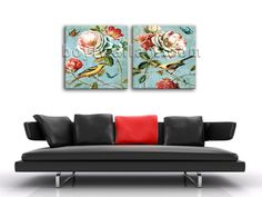 High quality 2-panel Giclee high-resolution canvas wall print with floral in contemporary style. It is available in numerous sizes to fit any size room!