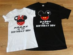 Mommy Daddy Mickey and Minnie Couples Tank Tops/T Shirts. COLORS: WHITE, BLACK, RED, and GRAY. This set can be personalized for FREE! Just inform us of what you want on your tank top in the note section while your purchasing your order. Mickey Mouse Clubhouse Birthday, Mickey Mouse Parties, Mickey Party, Baby 1st Birthday, Mickey Mouse Birthday, Boy Birthday Parties, Birthday Ideas, Disney Parties, Names Baby
