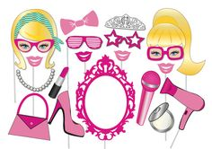 Girly Doll Photo booth Party Props Set  20 Piece por TheQuirkyQuail