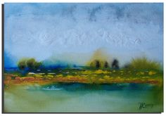 7x10 ORIGINAL Landscape Painting on paper by by studiomosaic, $55.00