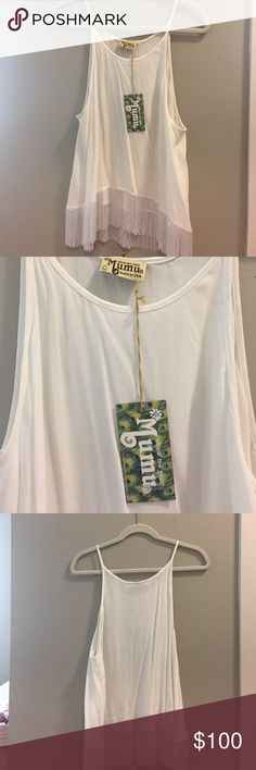 Show Me Your MuMu fringe top Mumu white fringe tank, never been worn before, new with tags! The cutest spring/summer tank not sold anymore! Originally $128 Show Me Your MuMu Tops Tank Tops