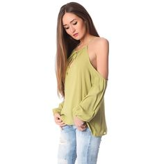 Q2 Store Long sleeve top with cold shoulders in pistachio