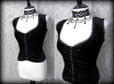 Gothic Romantic Black Crushed Velvet Tulle Frill Corset Style Top 14 Alt Doll | THE WILTED ROSE GARDEN