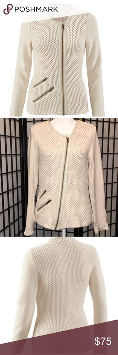"""CAbi Roadster Sweater, M, EUC This gorgeous """"moto"""" sweater is sophistication with an edge! Heavyweight knit with faux leather and zipper detailing. Beautiful with jeans, dress pants, skirt, or over a dress. Smoke free pet free home, EUC. Thanks for Poshing with me and be sure to check out my other listings! CAbi Sweaters"""