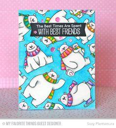 Handmade card from Suzy Plantamura featuring Birdie Brown Polar Bear Pals stamp set and Blueprints 12 Die-namics #mftstamps