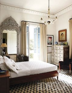 More Lebanese influence seen in this bedroom. Nabil Nahas's apartment for Elle Decor.