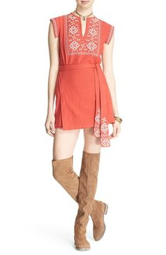 Free People 'Running Wild' Embroidered Minidress available at #Nordstrom