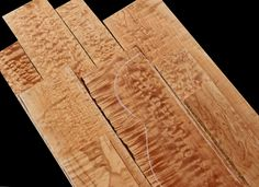 EXOTIC WOOD: QUILTED & FLAMED MAPLE This is a unique, highly figured batch of beautiful Big Leaf Maple, which contains both quilted and flamed material that ranges in grade from select up to premium grade. We have selected out only the finest boards. The Premium grade can be used for instruments where indicated. While many of these boards are narrow, they were cut very close to the outside of the log which has the highest quality figure in Maple logs.  www.cookwoods.com