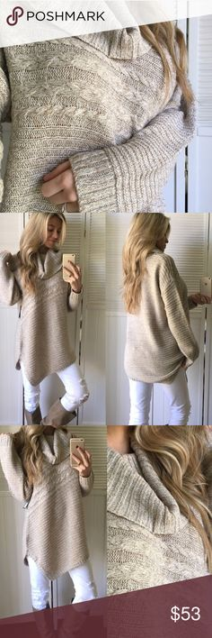 """""""Lovely Cable Knit Cowl Sweater"""" @mrsperkins New without tags. Never got to wear it's too dang hot in California 😕. Pictures & description are @mrsperkins. Price is firm Sweaters Cowl & Turtlenecks"""
