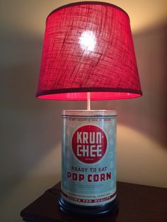 Vintage Krunchee Pop Corn Can Table Lamp