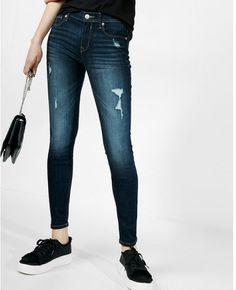 e25165c6459ae4 Express mid rise dark wash distressed stretch jean leggings
