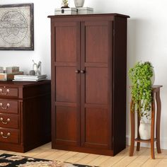 Darby Home Co Fellers 2 Door Storage Cabinet Finish: Cherry Door Storage, Office Storage, Storage Drawers, Storage Cabinets, Storage Spaces, Tall Cabinet Storage, Storage Ideas, Howard Storage, Wardrobe Cabinets