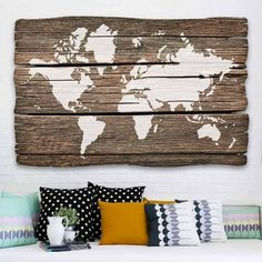 World Map Wall Art Stencil from Cutting Edge Stencils looks perfect stenciled on an driftwood for world travelers and geography lovers. http://www.cuttingedgestencils.com/world-map-stencil-wall-decal-worlds-maps-stencils.html