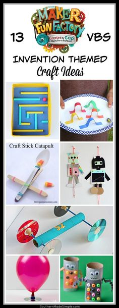 13 Maker Fun Factory Craft Ideas VBS -Invention inspired craft ideas - Robot Craft Ideas Vbs Crafts, Church Crafts, Camping Crafts, Craft Stick Crafts, Crafts For Kids, Craft Ideas, Science Crafts, Robot Crafts, Gadgets And Gizmos Vbs