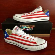 439d181c792 Puerto Rico Flag Converse Shoes Custom Hand Painted Low Top Canvas Shoes  Converse for Men Women